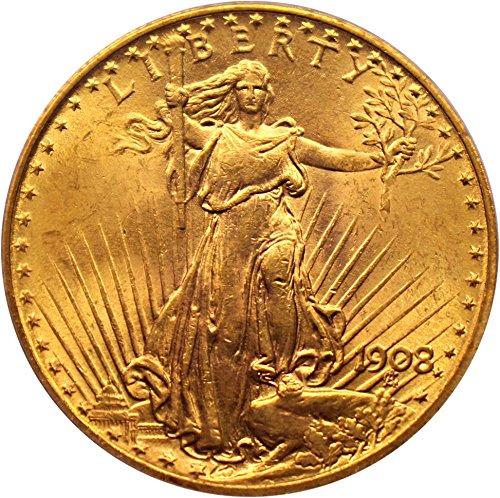 1908 P $20 Saint Gaudens Gold No Motto - Gold 20 Dollar Coin