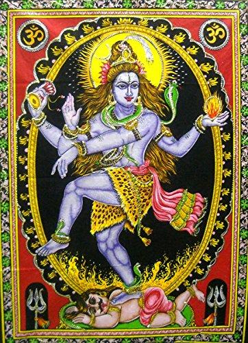 - India Crafts Dancing Shiva as Nataraja Hindu God colorful Batik Cotton Wall Tapestry 40