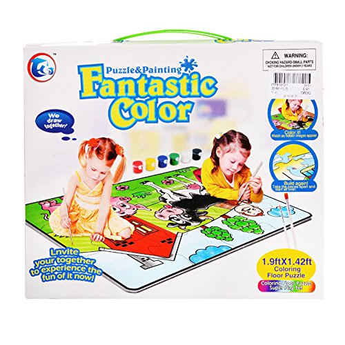 Dayan Cube Lanlan Animal House Puzzle and Painting Coloring Floor Puzzle Super Play Set ()
