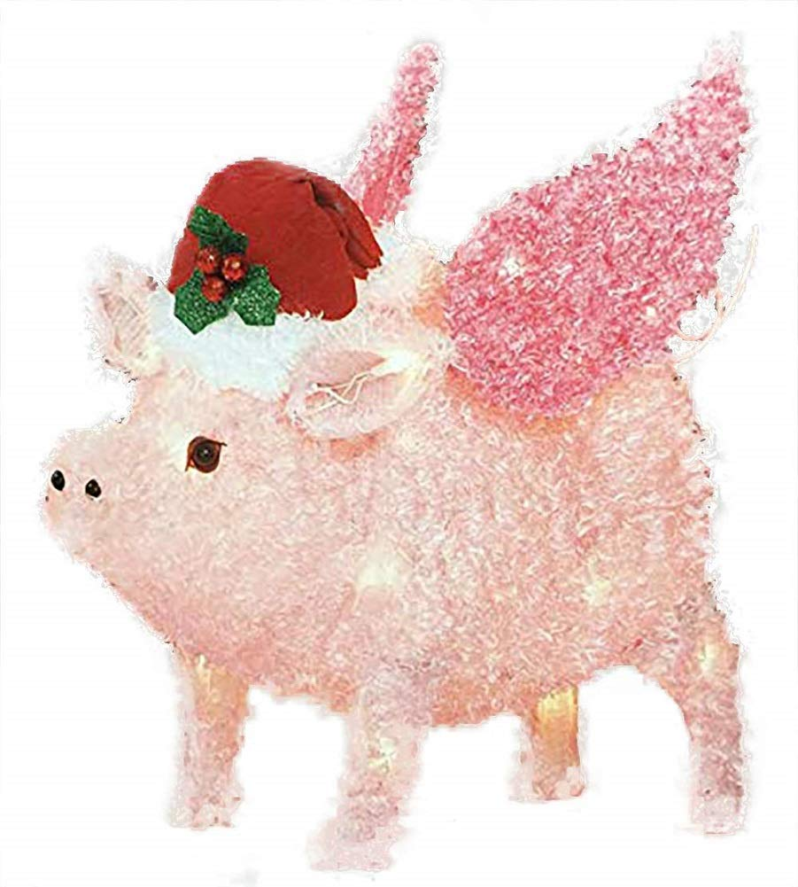 Holiday Time Flying Pig Yard Décor – Light Up Piggy Christmas Decoration