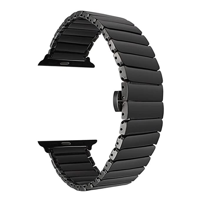Ceramic Band Strap Fashionable Smartwatch Wristband Bracelet Compatible with 40mm Apple Watch Series 4, 38mm Apple Watch Series 3/2/1 (Black,Style 1)