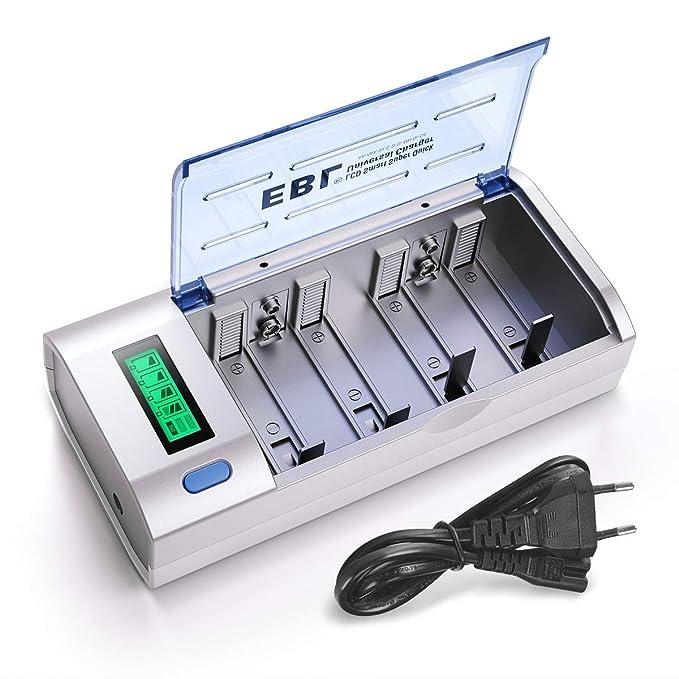 EBL LCD Universal Akku Ladegerät und Entladegerät für AA, AAA, C, D, 9V NI-MH/NI-CD wiederaufladbare Batterien