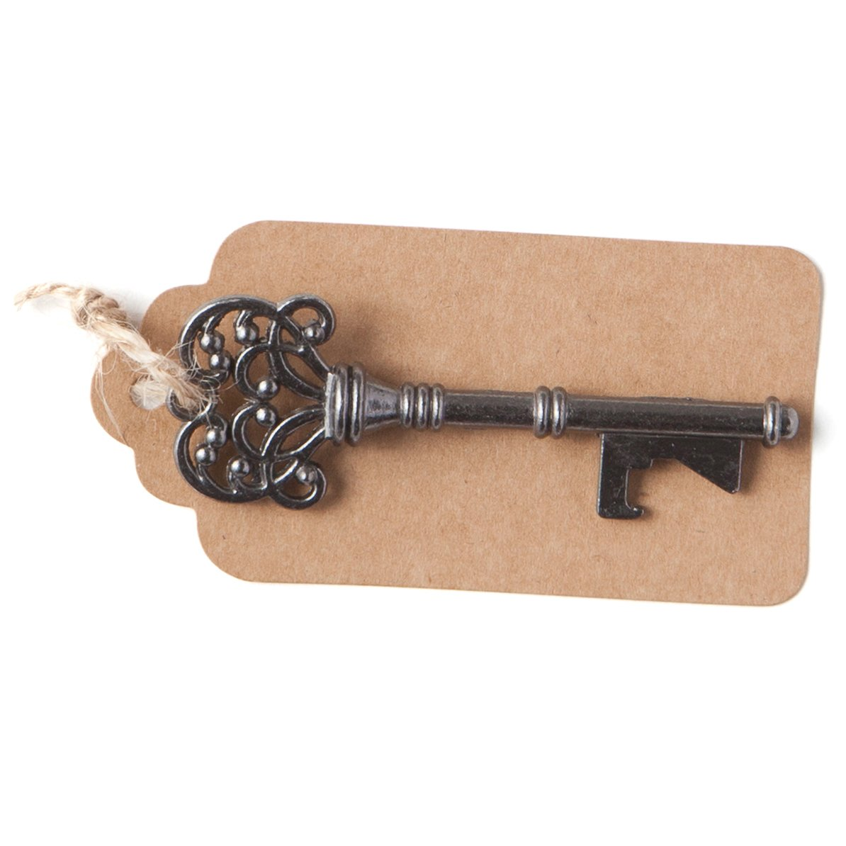 50 Key Bottle Openers w// Tags Twine Charcoal Gray Vintage Skeleton Keys Trinity