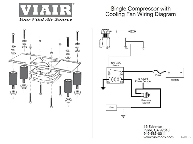 amazon com viair 95820 cooling fan vibration isolator kit with rh amazon com viair dual 444c wiring diagram 444C Viair 480C vs