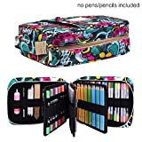 Pencil Case Holder Slot - Holds 202 Colored Pencils or 136 Gel Pens with Zipper Closure - Large Capacity Pen Organizer for Watercolor Pens or Markers - Perfect Gift for Beginner and Artist Blossom: more info