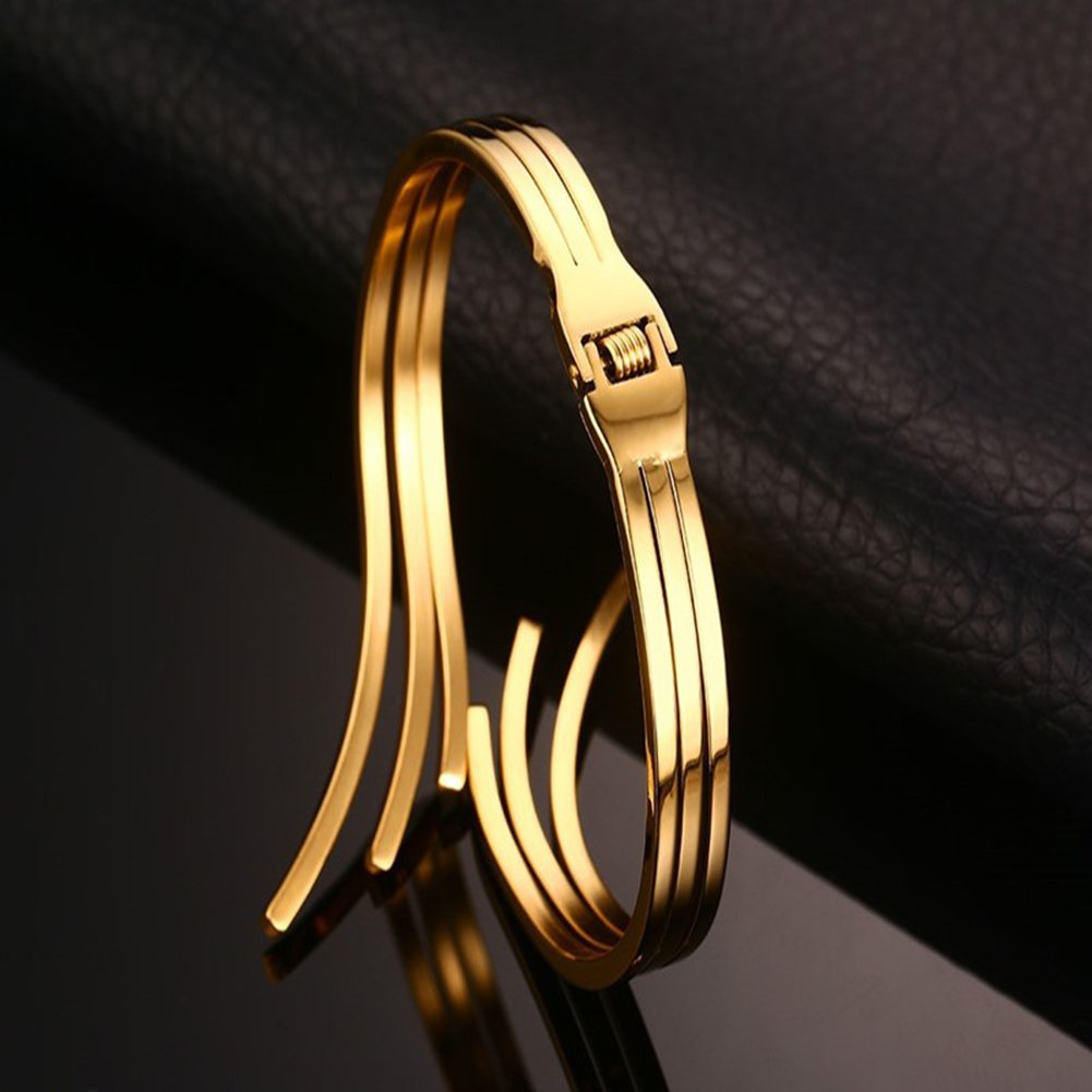 JAJAFOOK Unique Womens Gold Plated Stainless Steel Cuff Open Bangle Bracelet,Street Fashion Jewelry