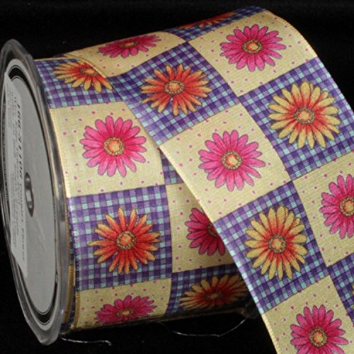 Gingham Taffeta Country Flower Wired Craft Ribbon 2.5