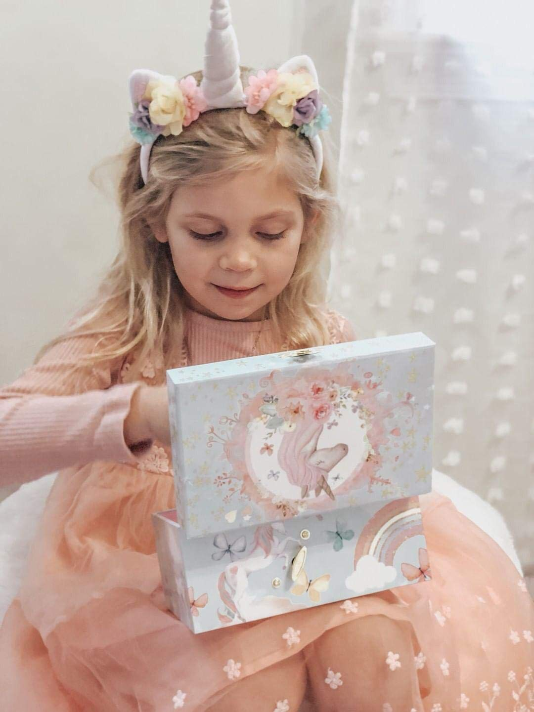 The Memory Building Company Unicorn Music Box & Little Girls Jewelry Set - 3 Unicorn Gifts for Girls 11