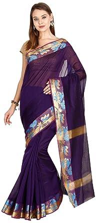 5cfa56dcca The Chennai Silks Cotton Saree with Blouse Piece (CCMYSC6780_Gothic Grape  Purple_Free Size)