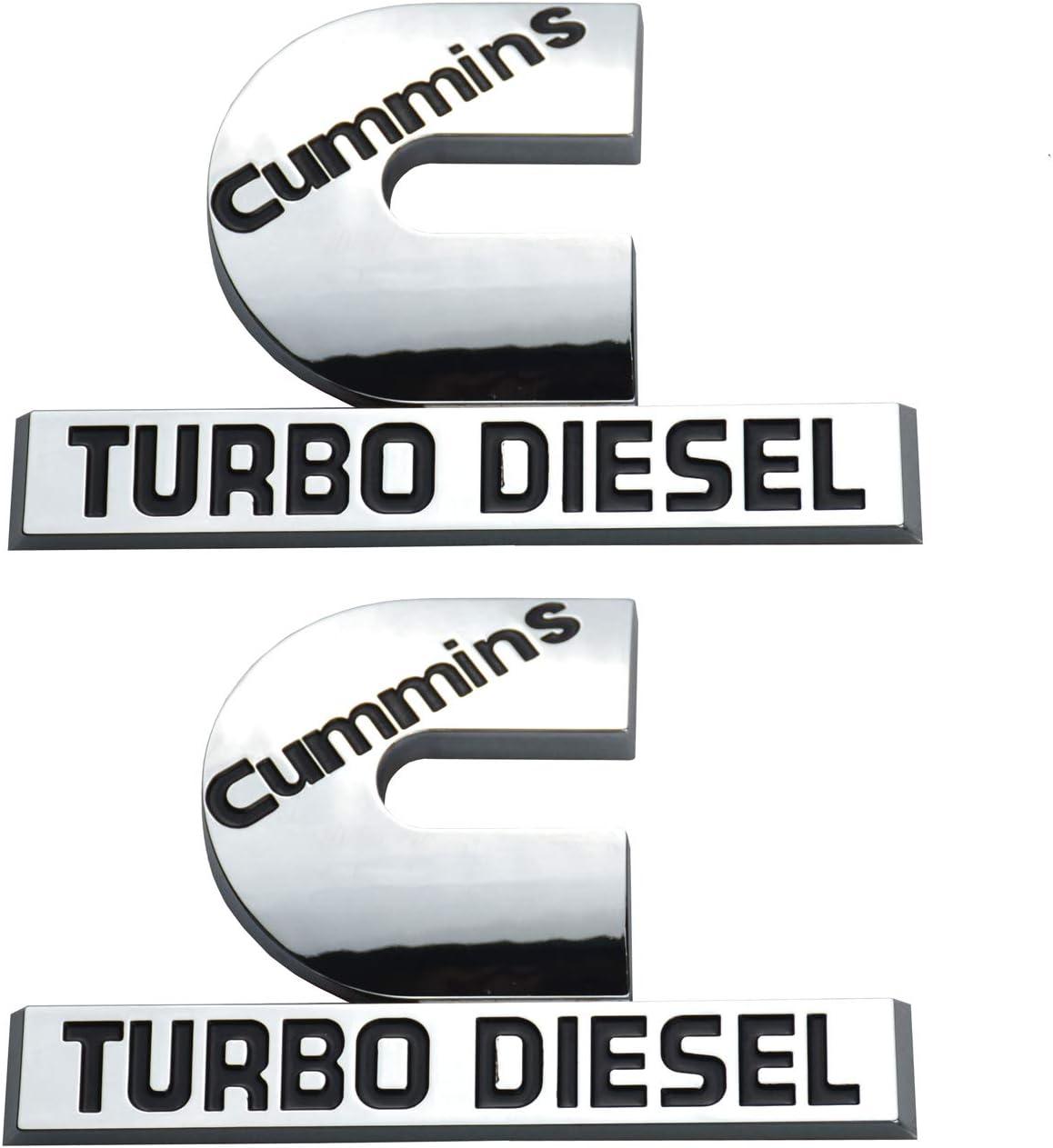 Cummins Turbo Diesel Emblems Chrome Badges High Output Nameplate Replacement Sticker for RAM 2500 3500 Fender Emblem