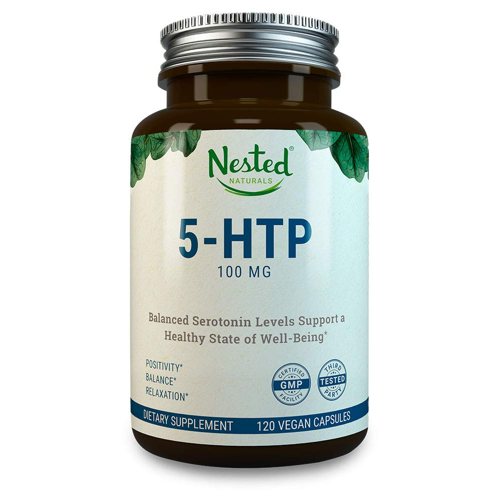 5-HTP 100 mg   120 Vegan Capsules   Helps with Mood, Sleep, Relaxation, Calm and Appetite Control   Naturally Sourced Serotonin Booster   Anti Stress & Temporary Anxiety Relief Support Supplement