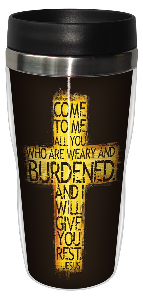 Tree-Free Greetings sg24356 Tired Cross: Matthew 11:28 Sip 'N Go Stainless Steel Lined Travel Tumbler, 16-Ounce