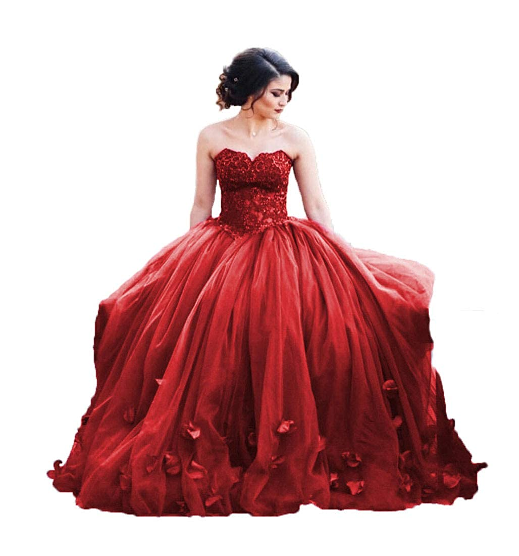 Uryouthstyle 2020 Strapless Quinceanera Ball Gowns Lace Prom Dresses
