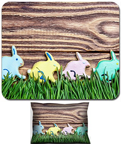 Luxlady Mouse Wrist Rest and Small Mousepad Set, 2pc Wrist Support design colorful bunnies cookies to day Happy Easter IMAGE: 27445877 - Happy Cookie Day