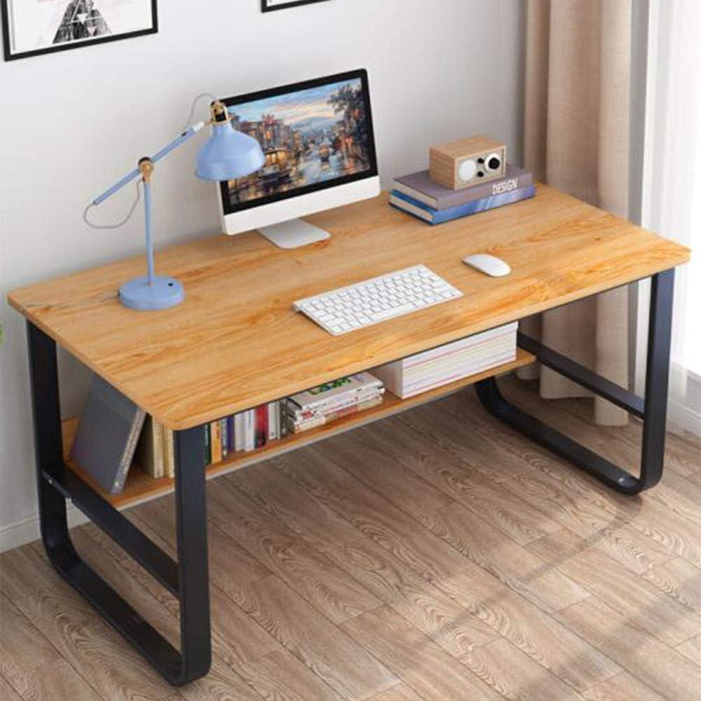 Living Room Furniture Computer Desk Study Desk Pc Laptop Table Workstation With Steel Frame Bookshelf Home Office Tables Cjc Color Wooden Color Furniture Decor