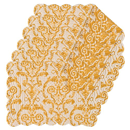 Quilted Placemat Set - C&F Home Florence Cotton Quilted Oblong Rectangular Cotton Quilted Placemat Set of 6 Rectangular Placemat Set of 6 Yellow