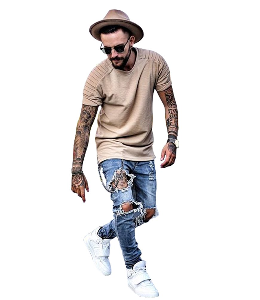Men's Distressed Skinny Fit Ripped Zipper Jeans Destroyed Denim Pants Blue 31