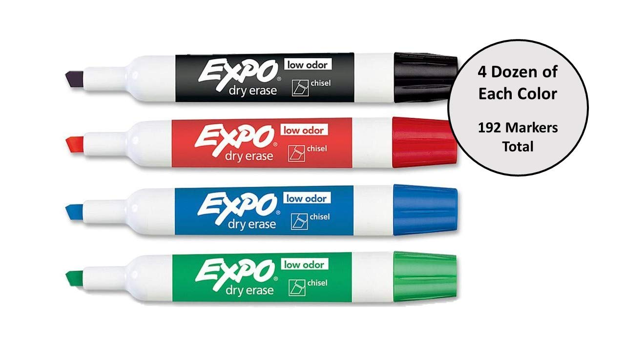Expo Low-Odor Markers Assorted Pack of Black, Blue, Green, and Red - 4 Dozen of Each, 192 Total Markers