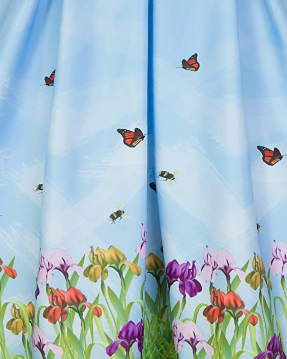54ddf36e3306 Lindy Bop Darcy' Blue Iris Print Swing Dress - 26: Amazon.co.uk: Clothing