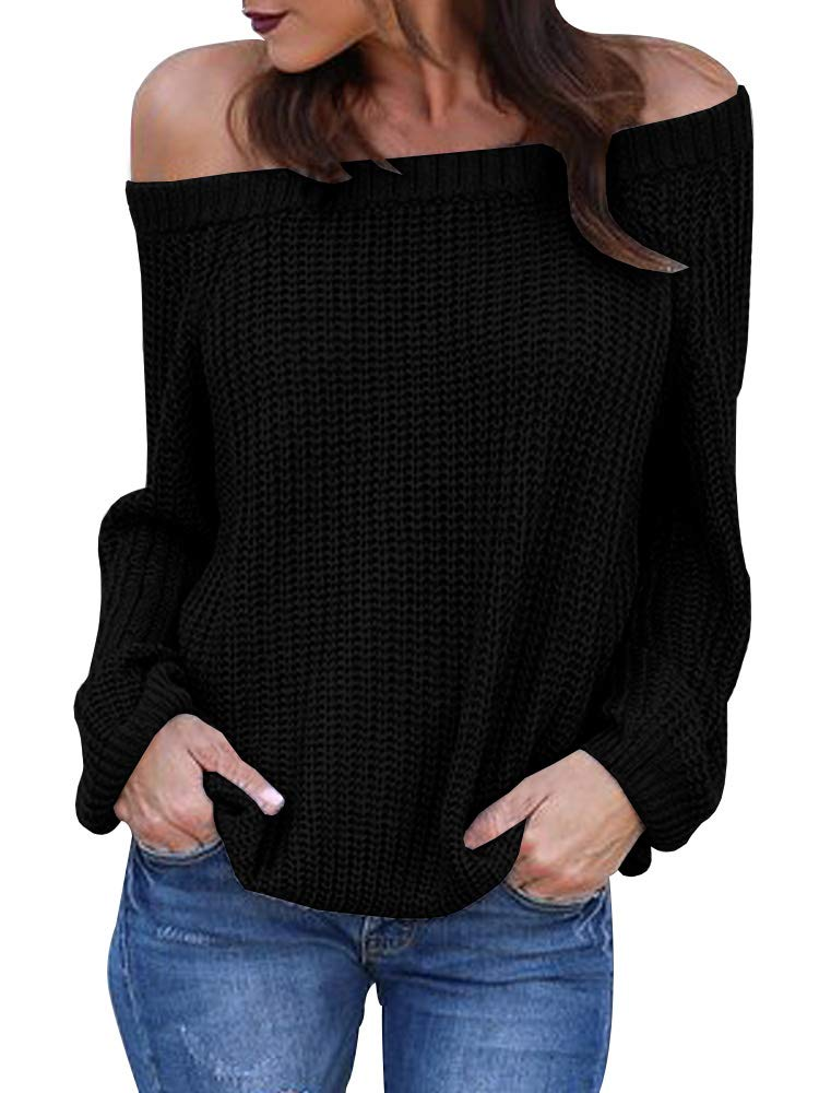 Womens Off The Shoulder Sweaters Fall Oversized Cable Knit Pullover Jumper (X-Large, Black)