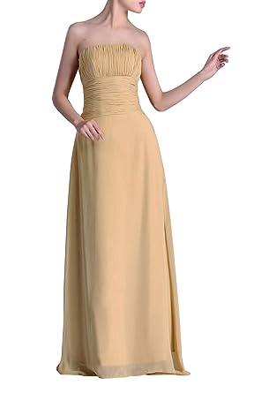 da7aed07fada Adorona Natrual A-line Strapless Pleated Chiffon Long Bridesmaid Dress,  Color Champagne,2