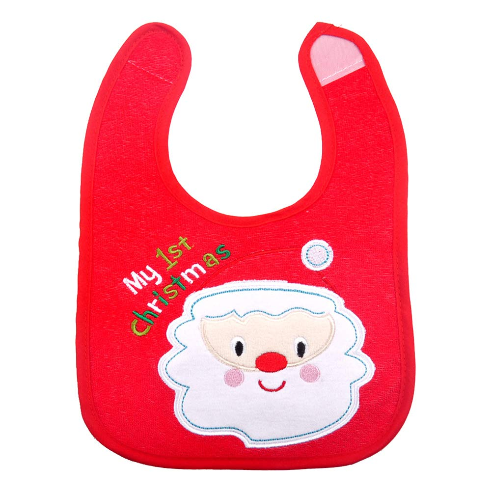 Toyvian Christmas baby bib santa clausa bibs snap-fastener dining bibs for baby newborn infant
