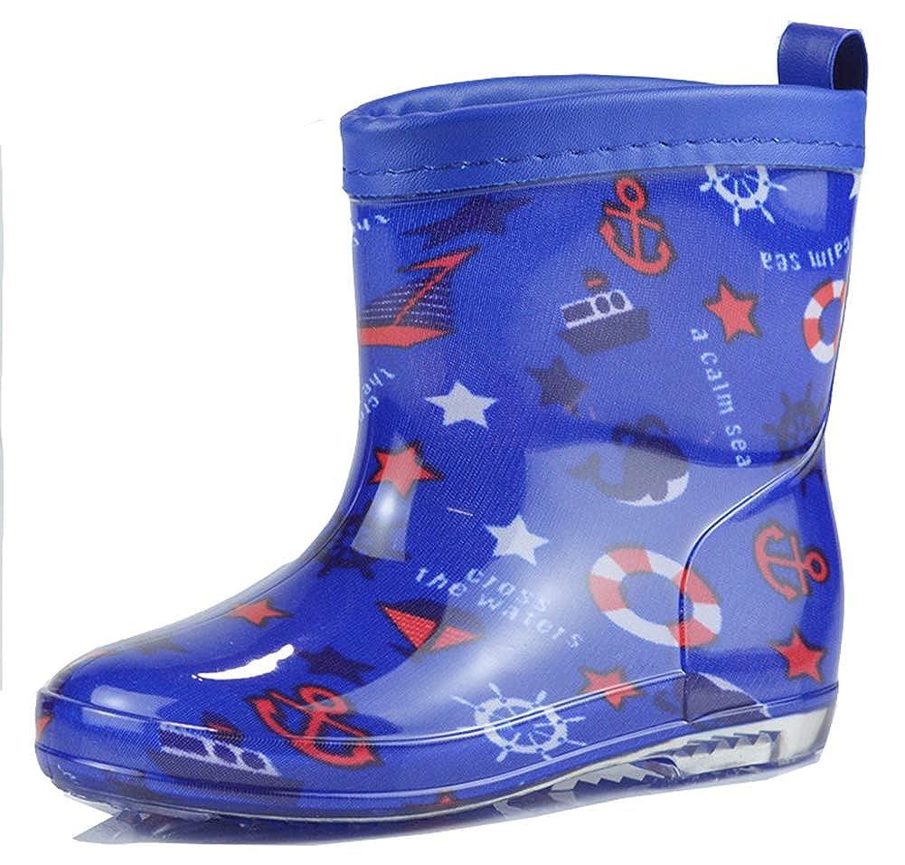 Aisun Girls Boys Kids Cute Cartoon Pattern Non Slip Waterproof Round Toe Pull On Flat Short Rain Boots