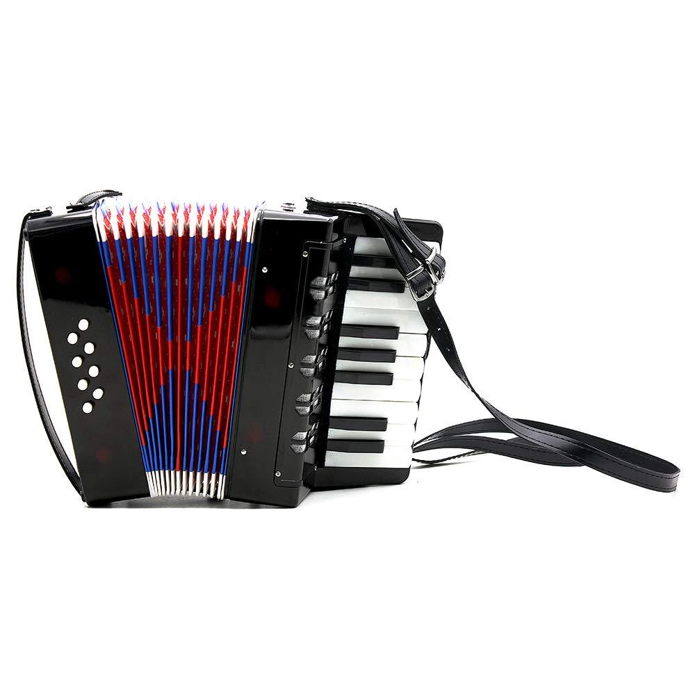 XuBa 17-Key 8 Bass Mini Small Accordion Educational Musical Instrument Rhythm Band Toy for Kids Children Black
