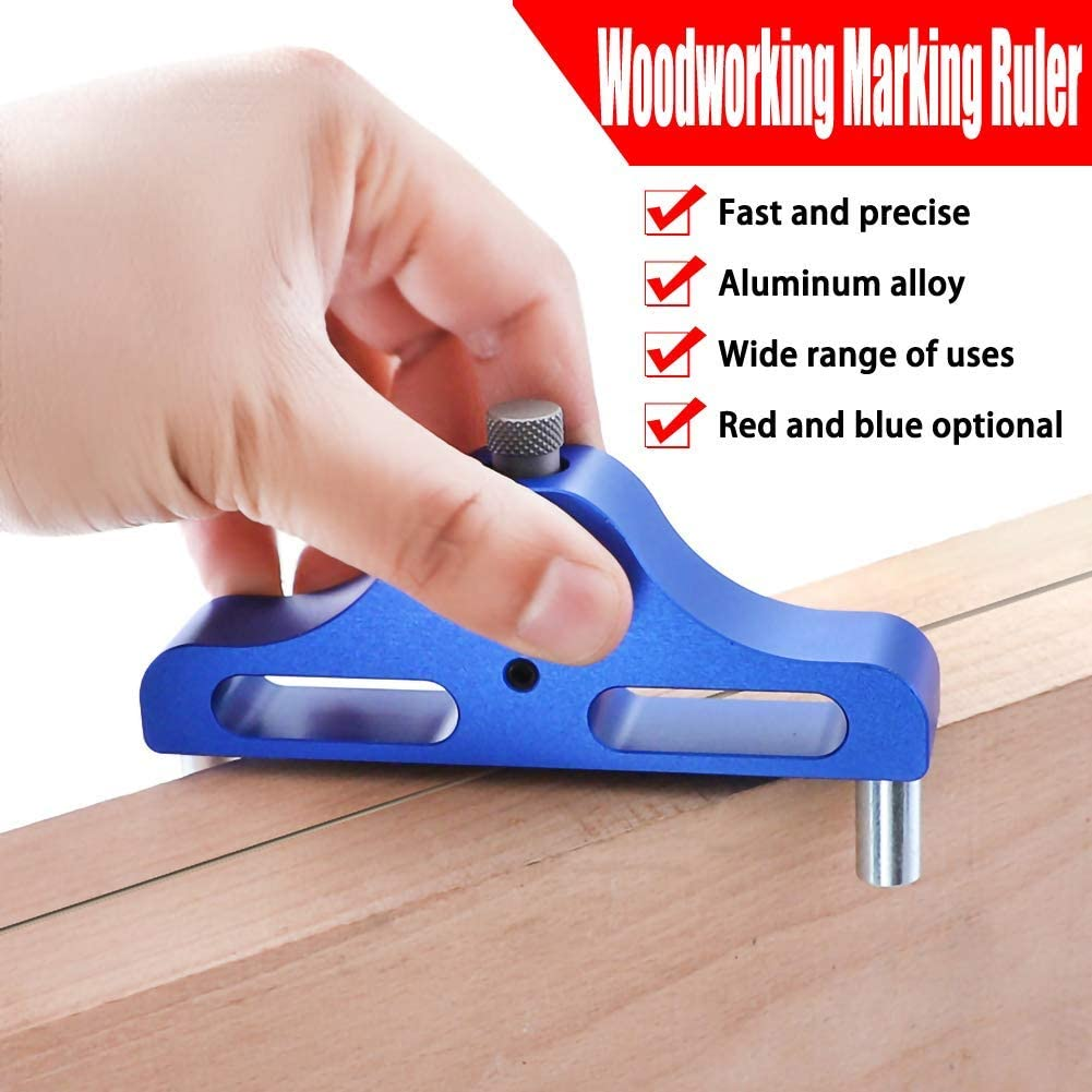 1pc 95mm Center Marking Gauge Aluminum Alloy Center Locator Line Scriber, Woodworking Center Scribe Mark Tool Angle Scribe for Carpentry,Woodworking Red