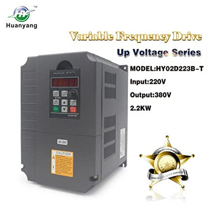 Huanyang VFD CNC Variable Frequency Drive Converter Controller 1 phase 220v  input 380v 3 phase output 2 2kw 3hp Inverter for Motor Speed Control