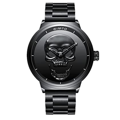 Menu0027s Skull Head Quartz Watch Black Fashion Trendy Waterproof Quartz Steampunk  Watch (black) ...