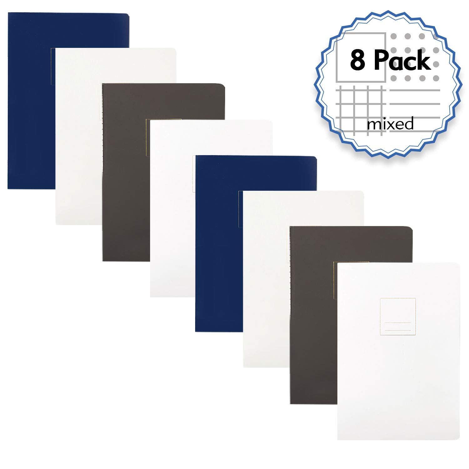 A5 Size 8.2 x 5.8 inch,100gsm Paper,320 Sheets//640Pages Composition books Graph Paper Simple Cover Design with 5mm Graph Pages All Grid, 8 Pack