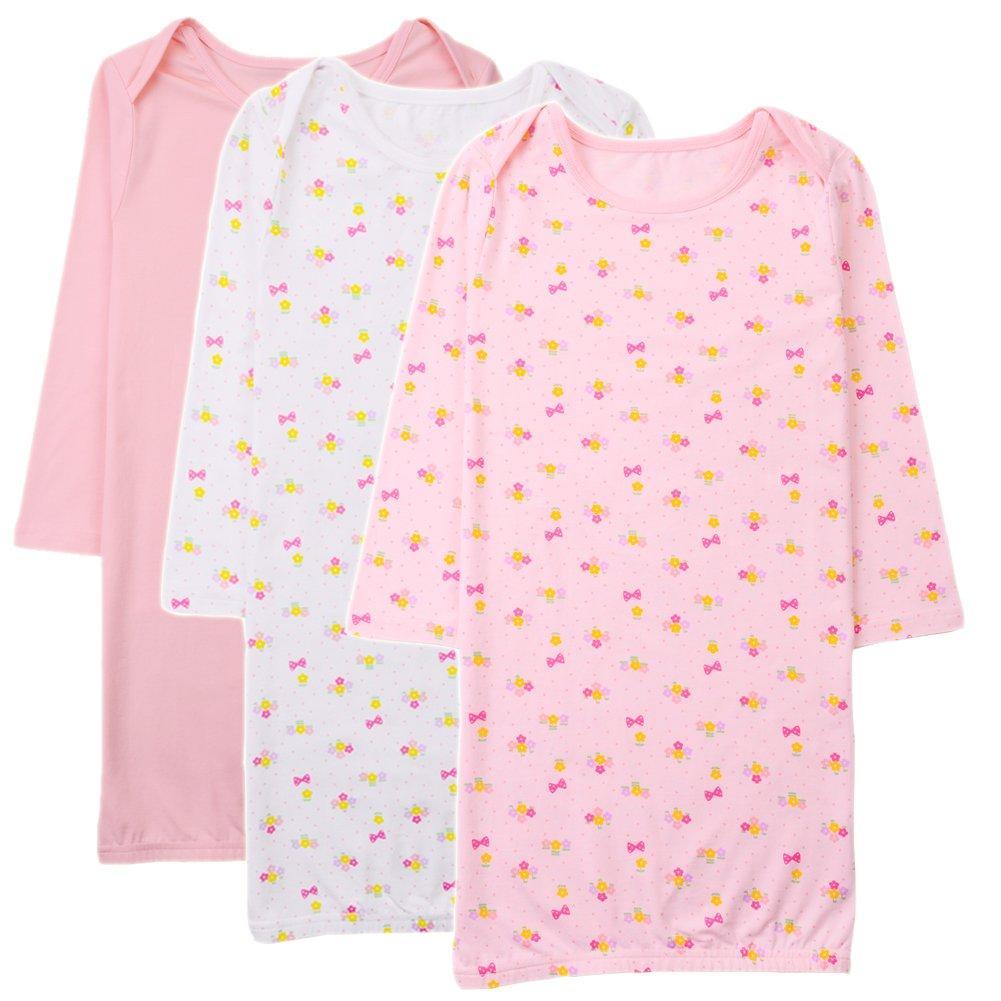 Exemaba Toddler Girls Night Gown - Kids Sleepwear Little Girls Nightdress Nightgown Cotton Long Sleeve Shirts (3-5 Years)