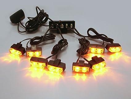 Ámbar 8 Piezas Parrilla Soporte LED Emergencia Intermitente Luz ...
