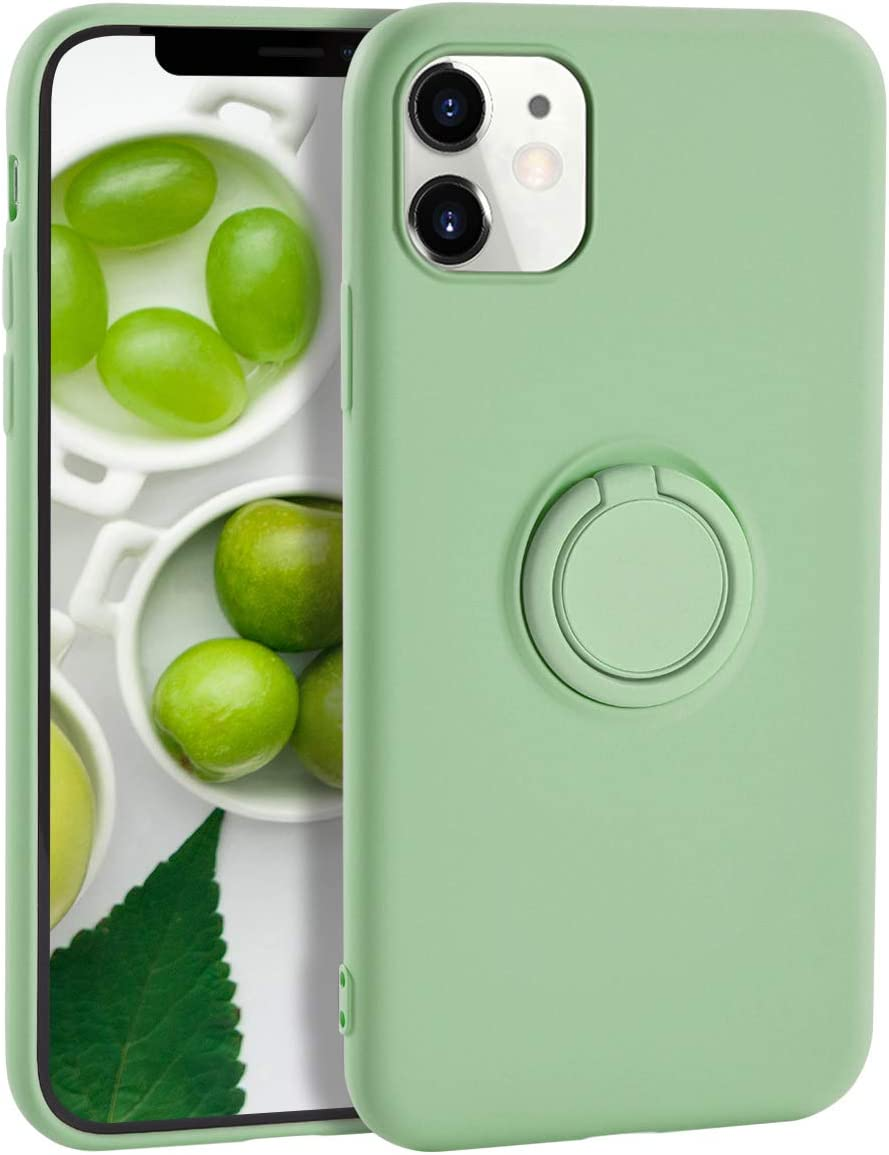 iPhone 11 Case Silicone,Yoopake iPhone 11 Case Liquid Silicone Case with Ring Stand Holder Support Magnetic Car Mount Soft Slim Protective Phone Cover Case for iPhone 11,Green