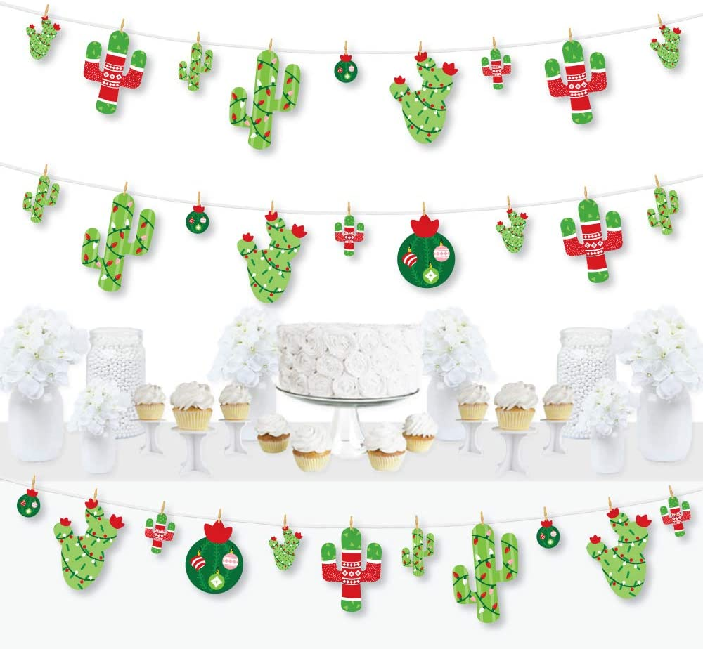 Big Dot of Happiness Merry Cactus - Christmas Cactus Party DIY Decorations - Clothespin Garland Banner - 44 Pieces