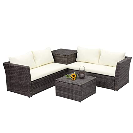 Fabulous Wisteria Lane Outdoor Patio Furniture Set 4 Piece Sectional Sofa Couch Conversation Set Loveseat With Storage Table All Weather Grey Wicker Beige Home Interior And Landscaping Ponolsignezvosmurscom