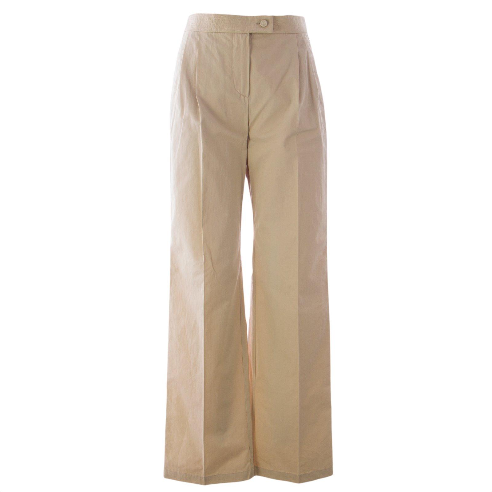 Max Mara Women's Oblio Wide Leg Trousers Sz 6 Sand