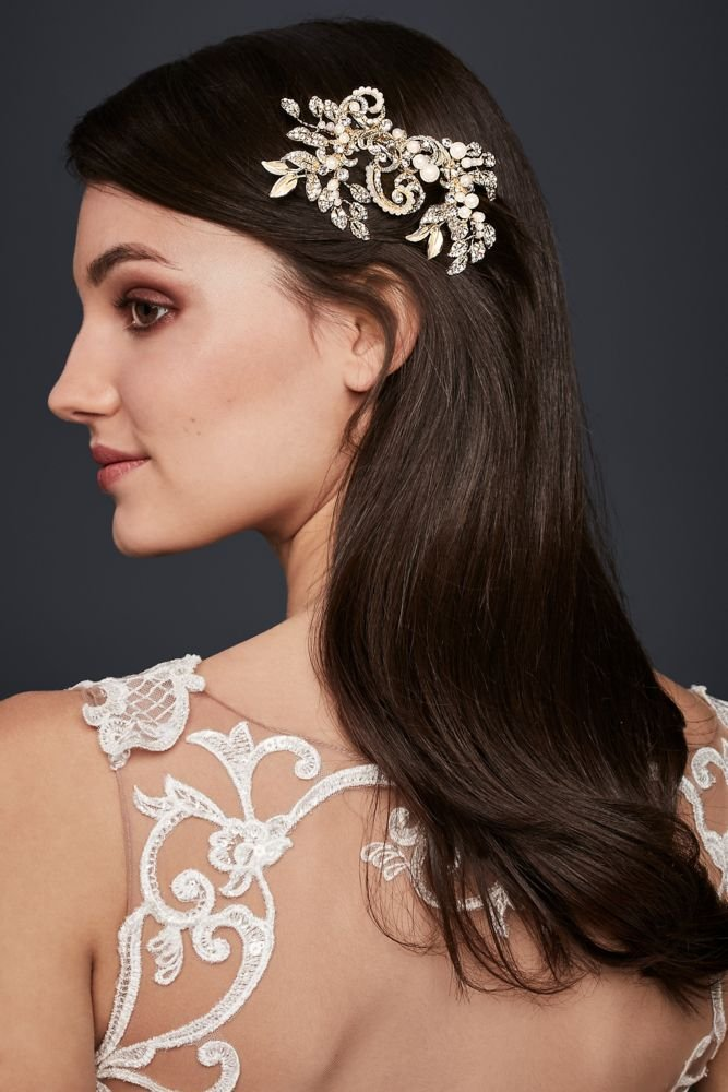 Pearl and Crystal Scroll Hair Clip Style C400, Silver by David's Bridal