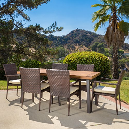 Castlelake | 7 Piece Outdoor Dining Set with Cushions | Perfect for Patio | in Brown