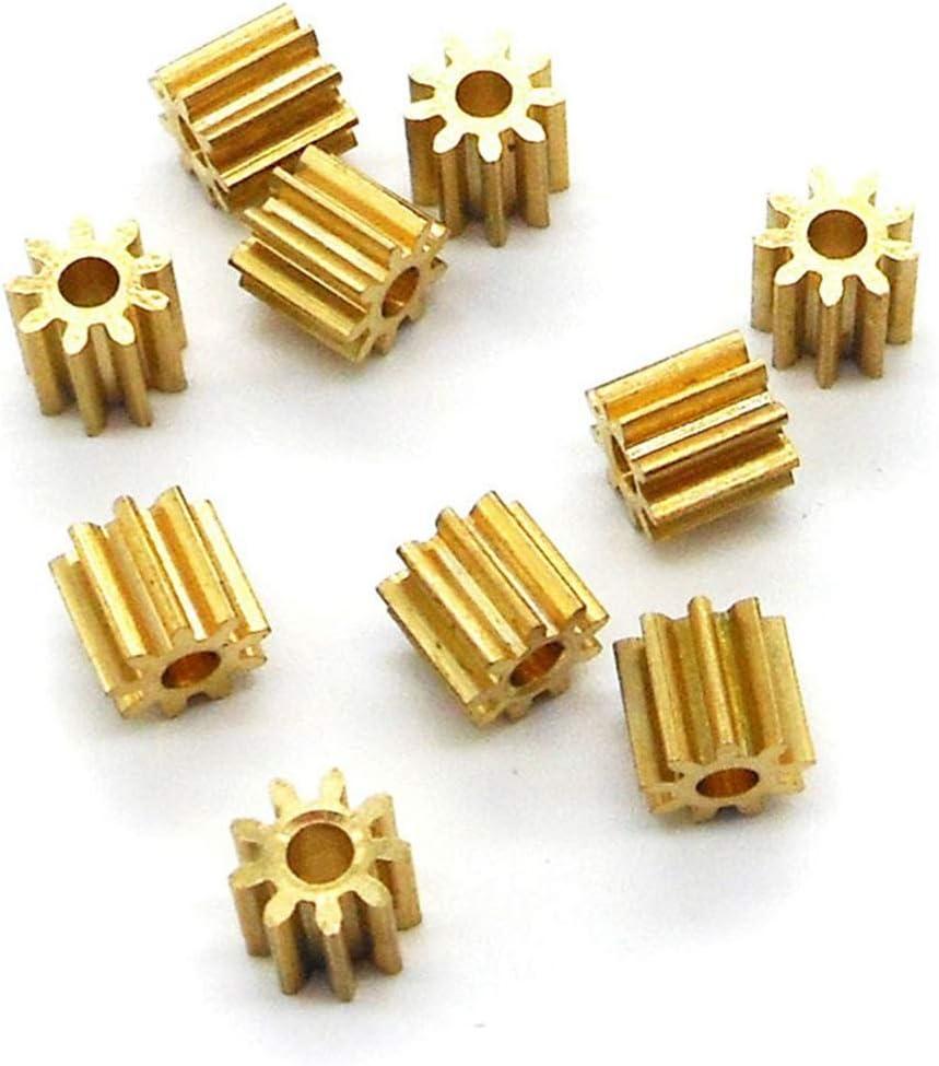 LIUYUNE, 92A / 91.5A 0.4M Engranaje de piñón de Cobre 9 Dientes 2mm 1.5mm Eje Engranajes de Metal Piezas del Motor Accesorio 10pcs / Paquete (Hole Diameter : 2mm Tight, Number of Teeth : 9 Teeth)