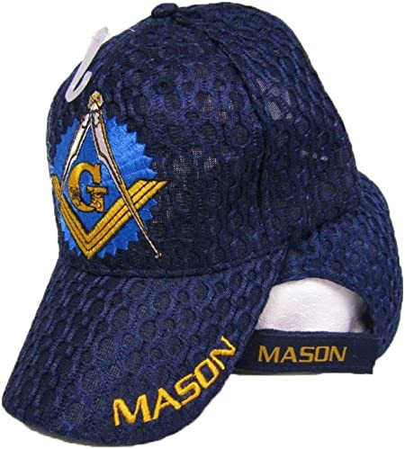 Embroidered Blue Freemason Mason Masonic Shadow Emblem Baseball Style Cap Hat