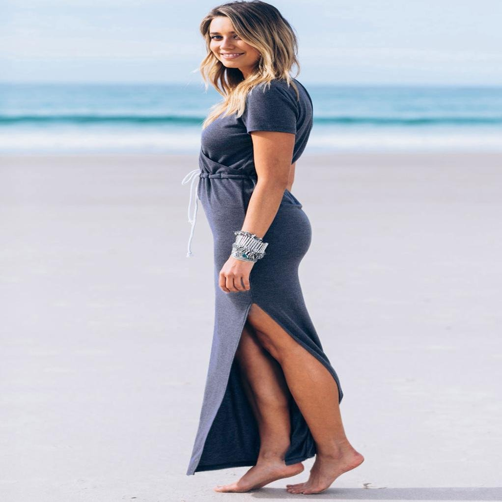 BallsFHK Women Elegant Sexy V-Neck Casual Slender Short Sleeve Waist Line Furcal Dress at Amazon Womens Clothing store: