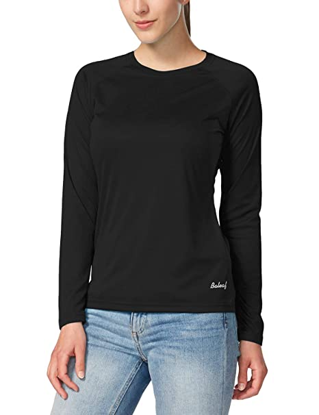 2c2caec2 Baleaf Women's UPF 50+ Sun Protection T-Shirt Long Sleeve Outdoor  Performance Black Size
