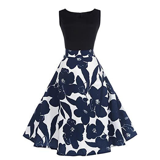 Hot Sale! Women Dress sfe Retro 50s Audrey Hepburn Style Blue Flower Pattern  Sleeveless Dresses b08640b088b