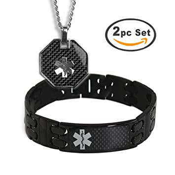 My Identity Doctor Men's Custom Engraved Black Medical Alert Bracelet and  ID Necklace -