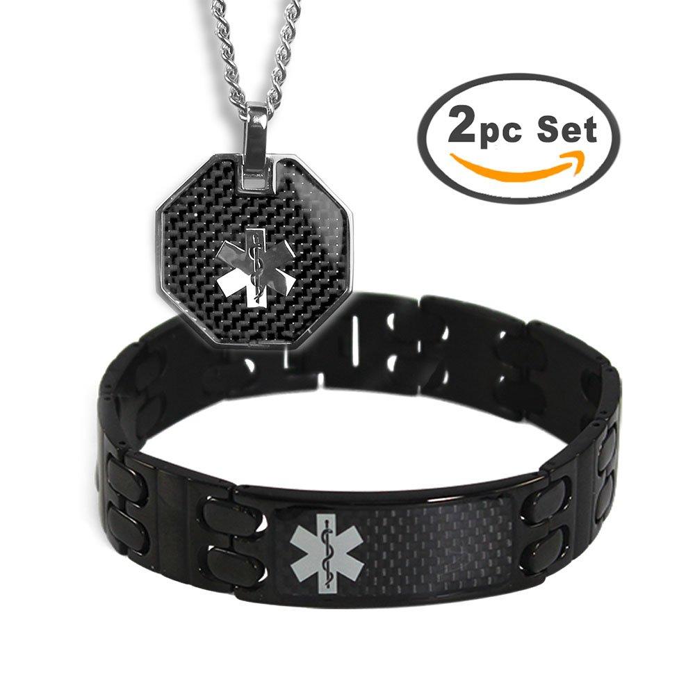 My Identity Doctor Men's Custom Engraved Black Medical Alert Bracelet and ID Necklace - Stainless Steel, 8.5in / 21.6cm