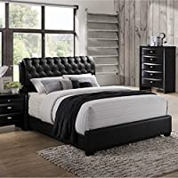 Roundhill Furniture Blemerey 110 Wood Bonded Leather Bed, Queen, Black