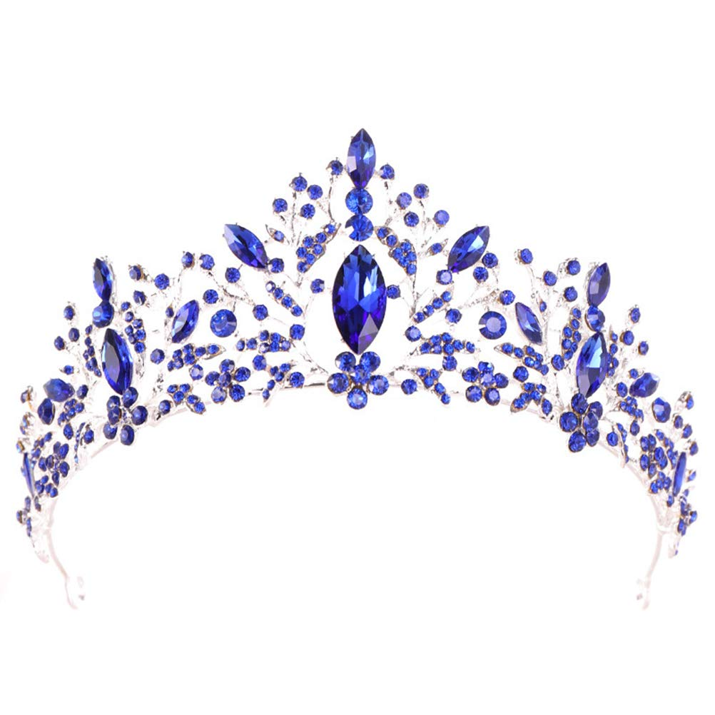 Baroque Crown Charming Rhinestone Princess Queen Bridal Crown for Wedding Hair Accessories (Blue)