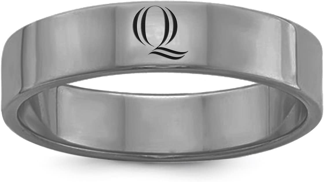 College Jewelry Single Logo Quinnipiac Bobcats Rings Stainless Steel 8MM Wide Ring Band Size 8